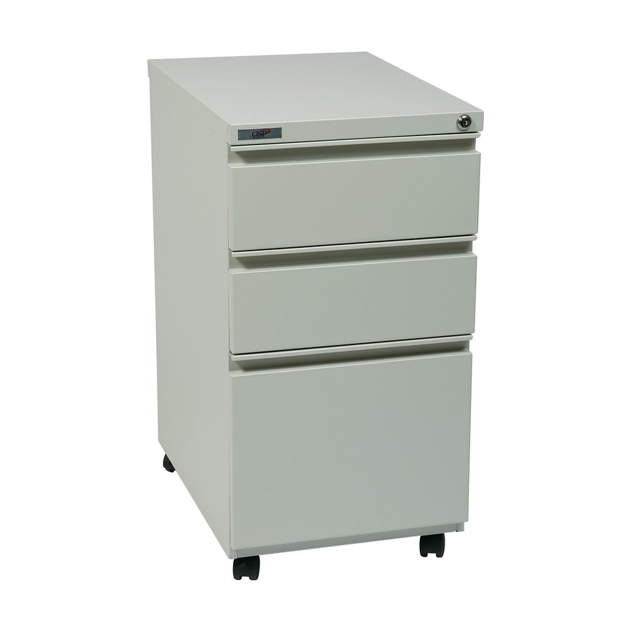Office Star OSP Furniture Light Grey 3 Drawer File Cabinet