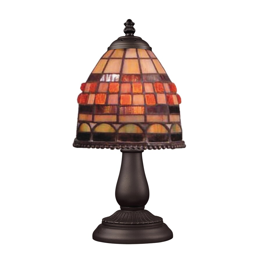 Westmore Lighting 13-in Tiffany Bronze Table Lamp with Glass Shade