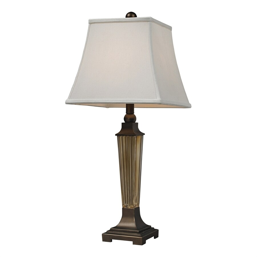 Westmore Lighting 28.5-in Amber Smoked 3-way Table Lamp with Fabric Shade