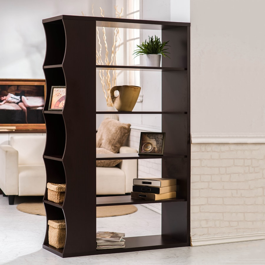 Enitial Lab Dark Walnut 5-Shelf Bookcase