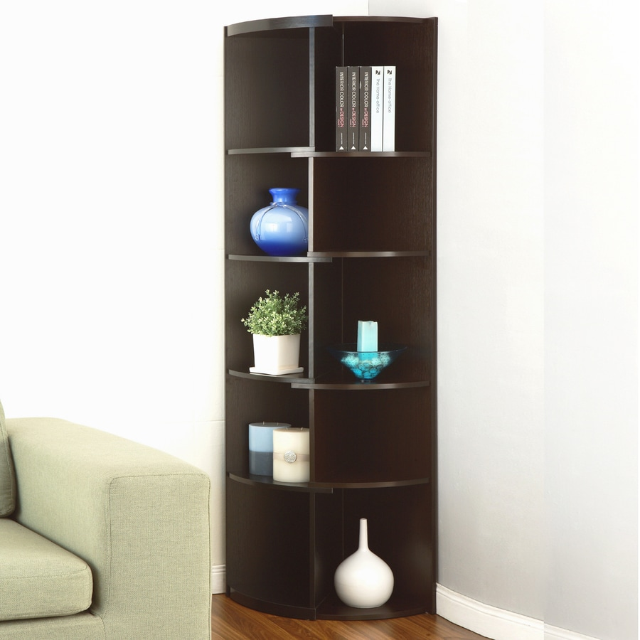 Enitial Lab Espresso Black 5 Shelf Bookcase