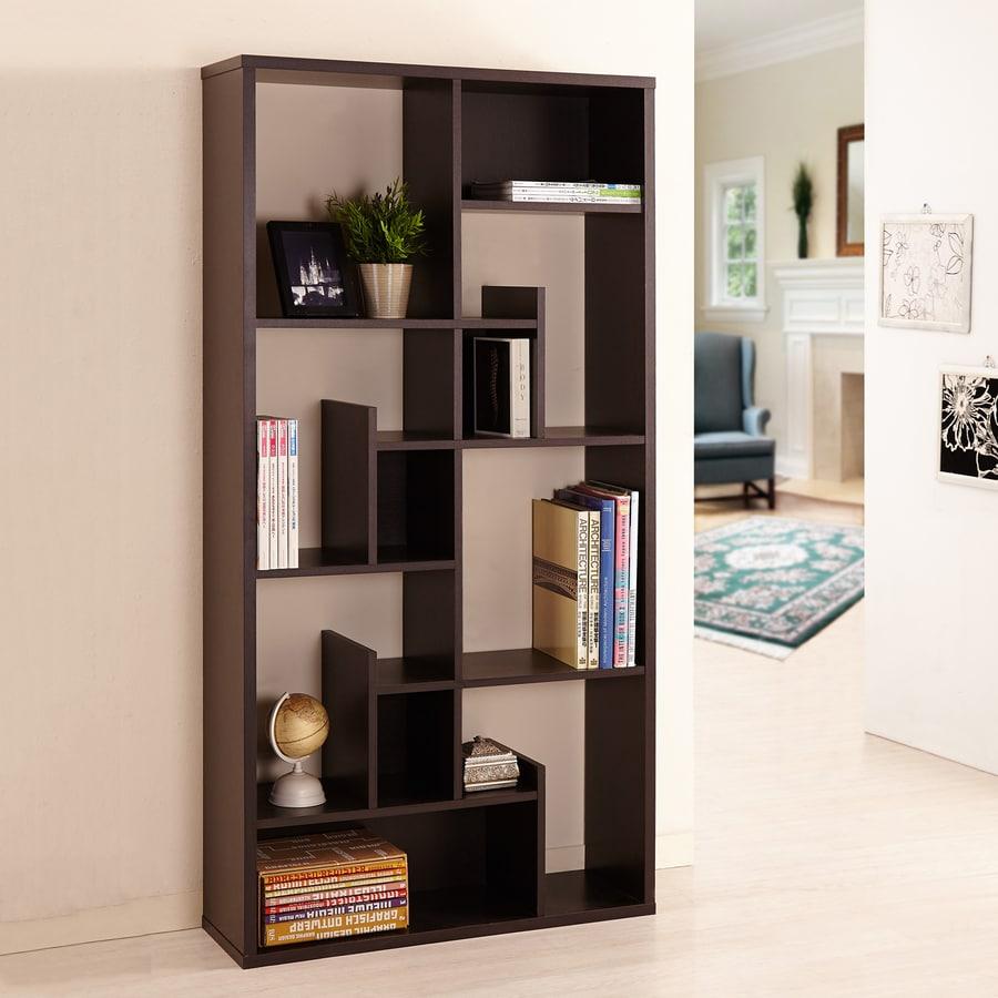Enitial Lab Espresso 11-Shelf Bookcase