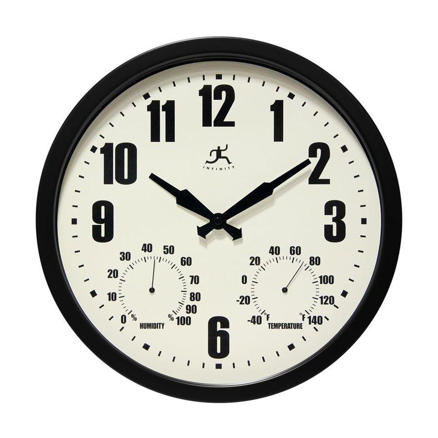 Infinity Instruments Munich Analog Round Indoor/Outdoor Wall Combination Clock