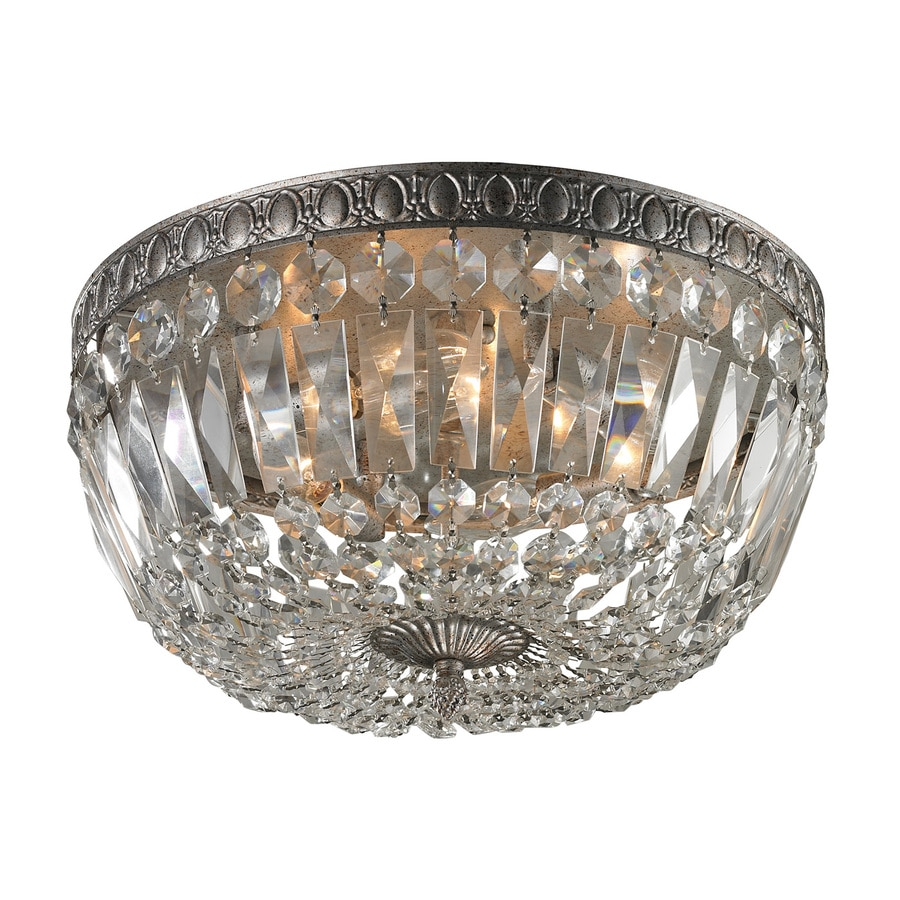 Westmore Lighting La Fontane 15-in W Sunset Silver Crystal Accent Flush Mount Light