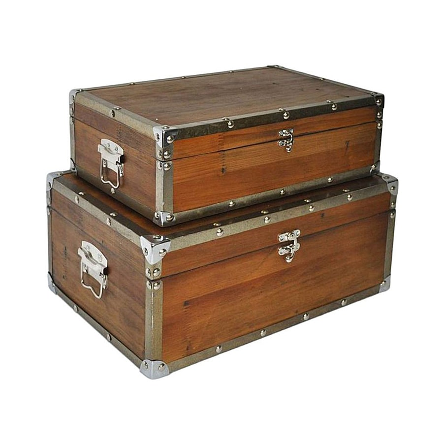 Cheung's Brown Wood Storage Trunk