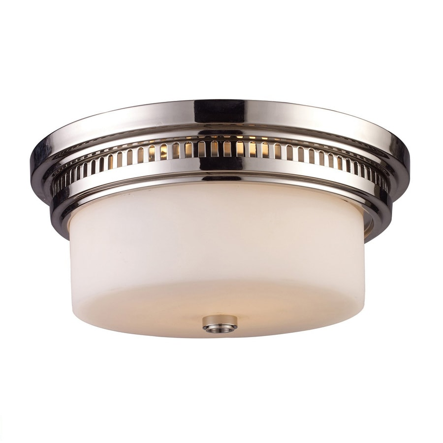 Westmore Lighting Chadwick 13-in W Polished Nickel Flush Mount Light
