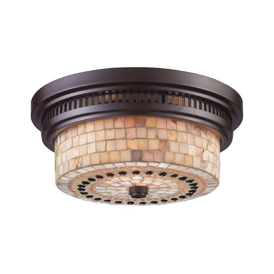 Westmore Lighting Chadwick 13-in W Oiled Bronze Flush Mount Light