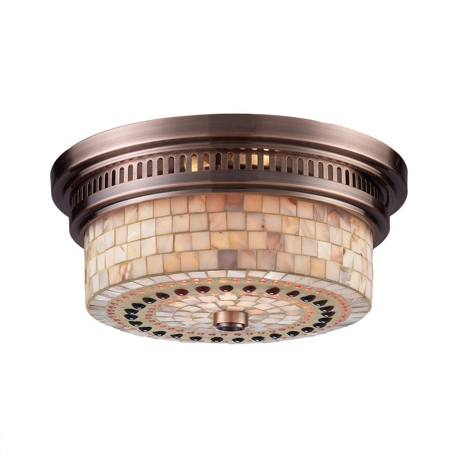 Westmore Lighting Chadwick 13-in W Antique Copper Flush Mount Light