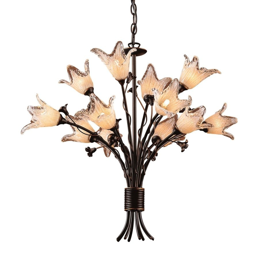 Westmore Lighting Fioritura 29-in 12-Light Aged Bronze Art Glass Shaded Chandelier
