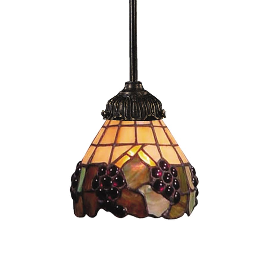 Westmore Lighting San Rafael 6-in Tiffany Bronze Vintage Mini Tinted Glass Bell Pendant