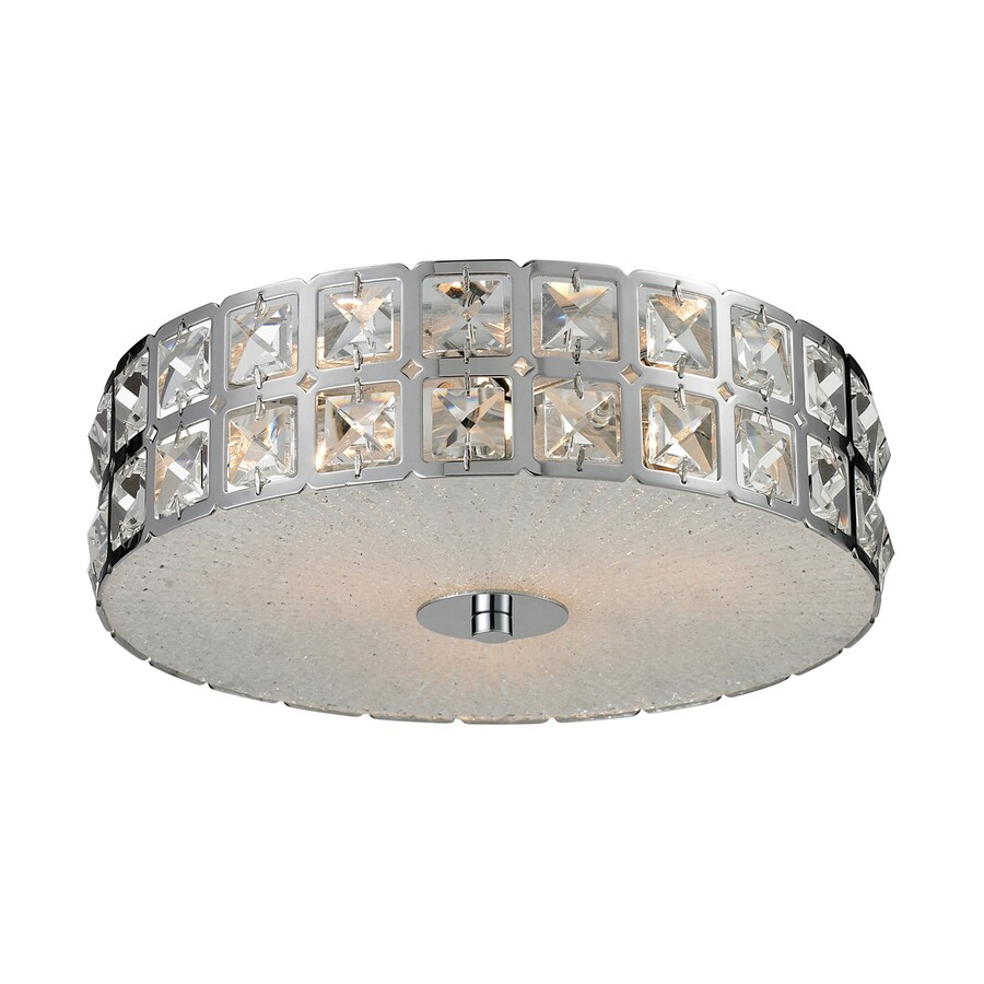 Westmore Lighting Wickham 12-in W Chrome Crystal Flush Mount Light