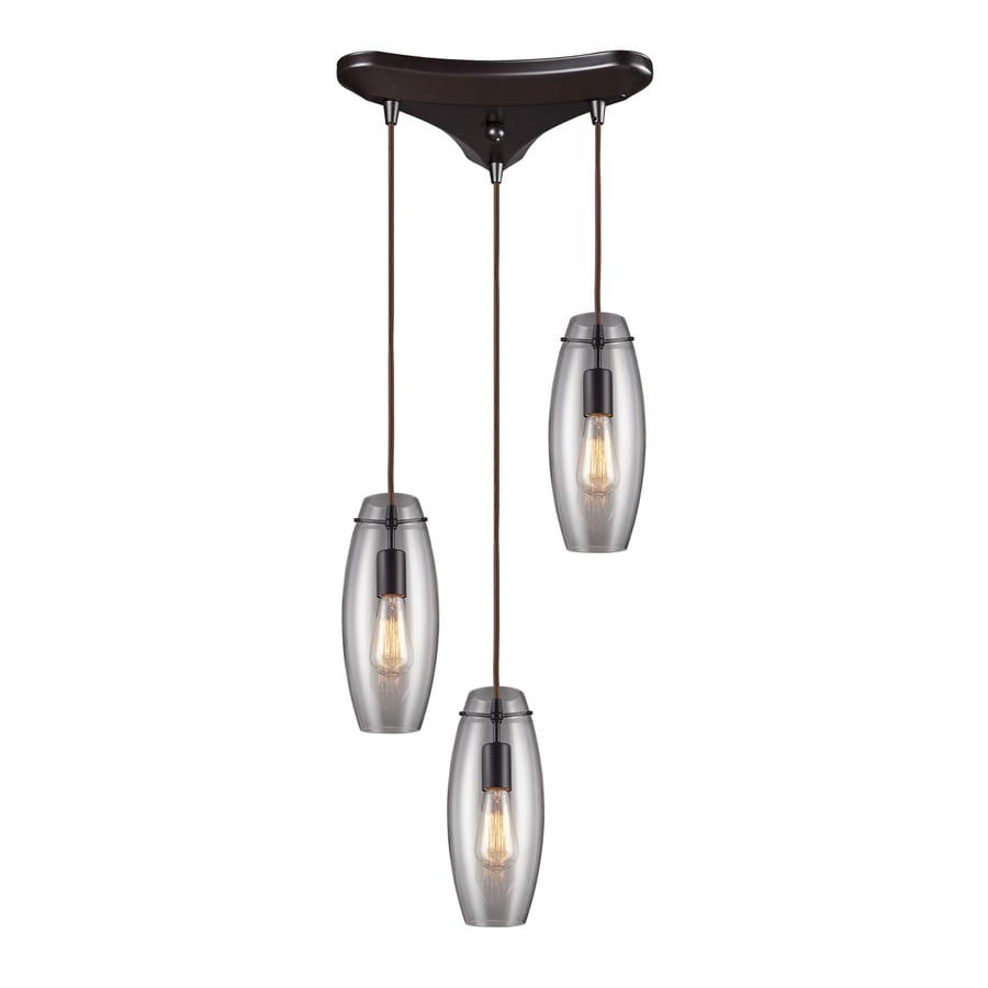 Westmore Lighting Alvingham 11.75-in Oiled Bronze Multi-light Clear Glass Cylinder Pendant