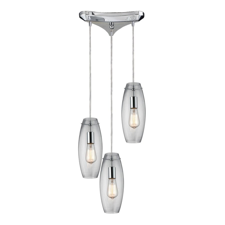 Westmore Lighting Menlow Park 11.75-in Polished Chrome Multi-light Clear Glass Cylinder Pendant