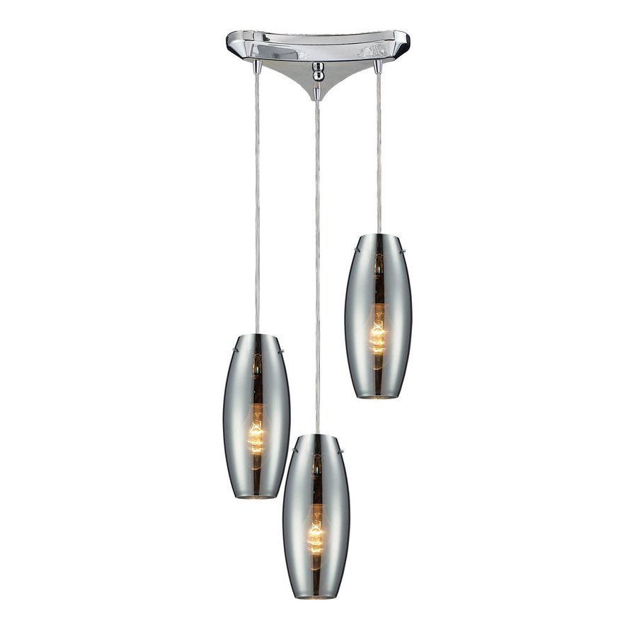 Westmore Lighting Menlow Park 11.75-in Polished Chrome Multi-light Mercury Glass Cylinder Pendant