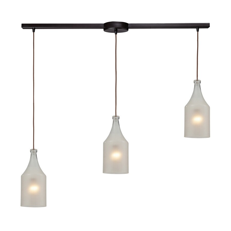 Westmore Lighting Netherley 36-in Oiled Bronze Industrial Linear Clear Glass Jar Pendant
