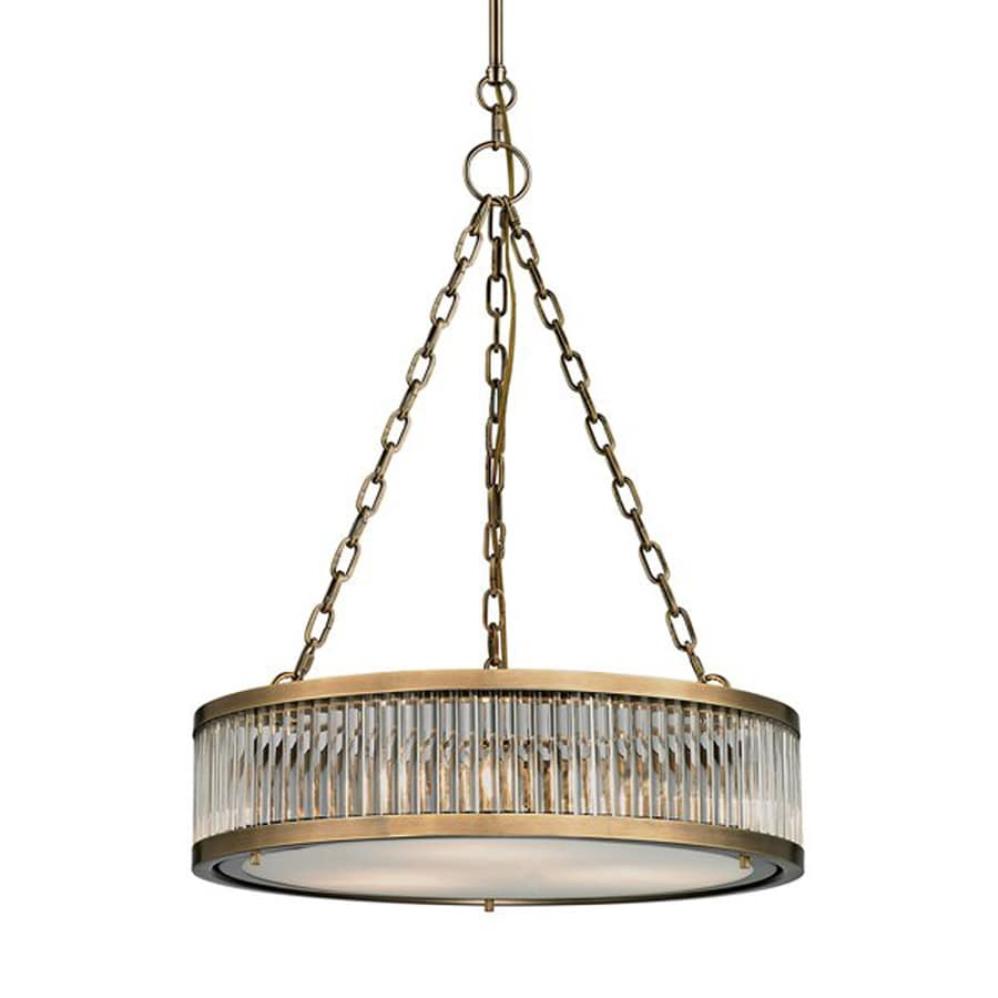 Westmore Lighting Chelsea 20-in Aged Brass Single Clear Glass Drum Pendant