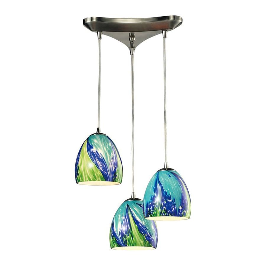 Westmore Lighting Parasol 12.75-in Satin Nickel Multi-light Art Glass Teardrop Pendant