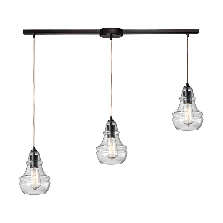 Westmore Lighting Menlow Park 37-in Oiled Bronze Industrial Linear Clear Glass Jar Pendant