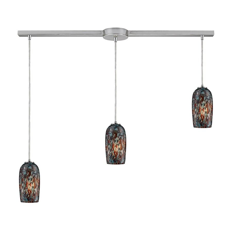 Westmore Lighting Sheliak 37-in Satin Nickel Linear Art Glass Cylinder Pendant