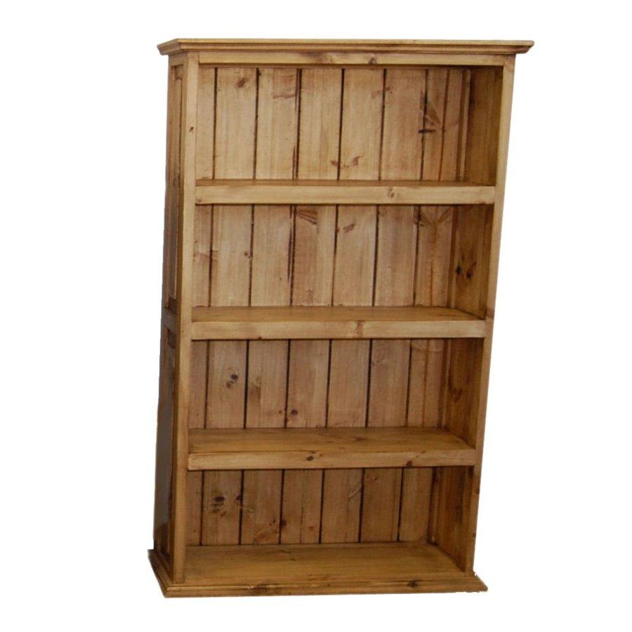 Million Dollar Rustic Natural Wood 4-Shelf Bookcase At