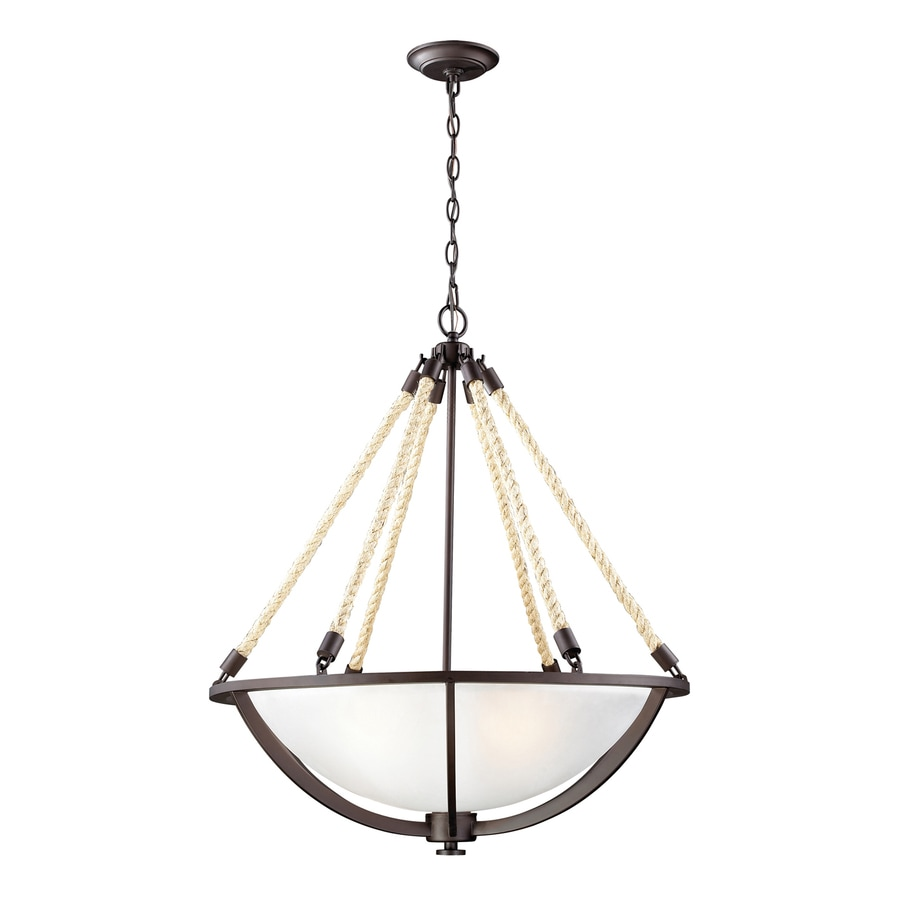 Westmore Lighting Litherland 26-in Aged Bronze Coastal Single Tinted Glass Bowl Pendant