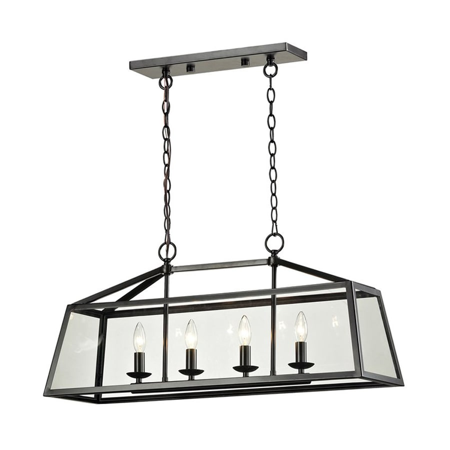 Westmore Lighting Hatfield 32-in Oil Rubbed Bronze Wrought Iron Linear Clear Glass Rectangle Pendant