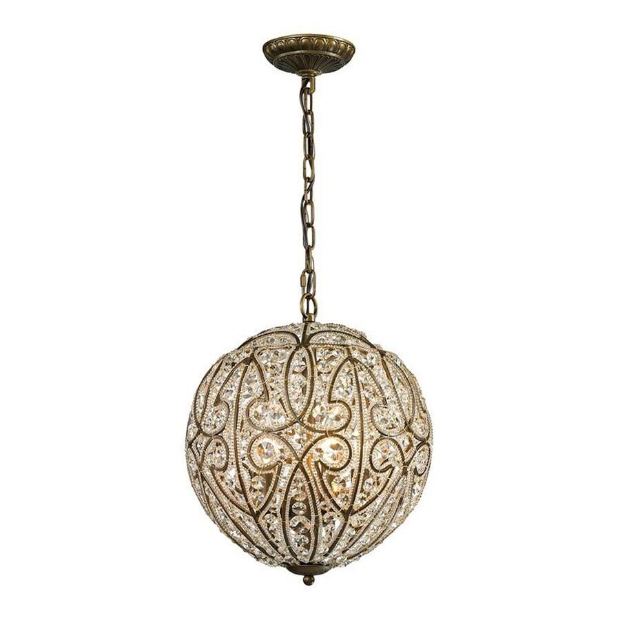 Westmore Lighting Bella 13-in Dark Bronze Vintage Single Crystal Orb Pendant