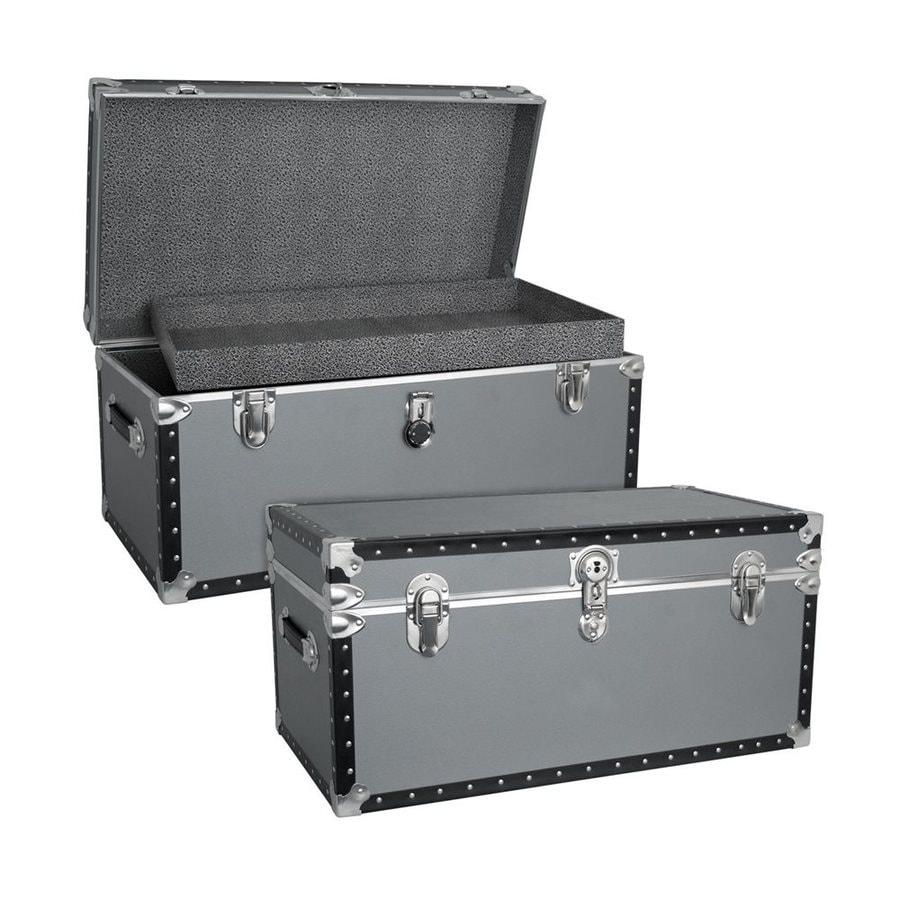 Mercury Luggage Silver Wood Storage Trunk
