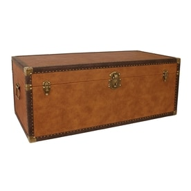 Mercury Luggage Brown Wood Storage Trunk