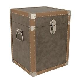 Mercury Luggage 2 Cu Ft Distressed Grey Wood Storage Trunk