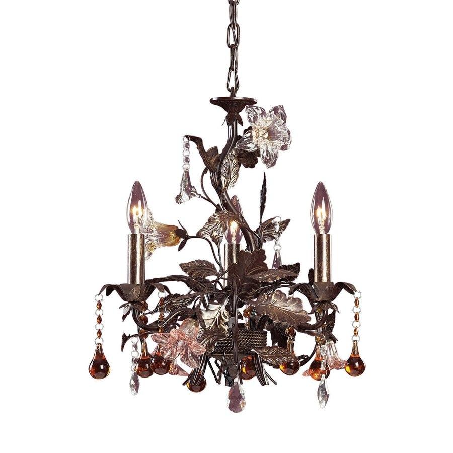 Westmore Lighting Florette 17-in 3-Light Deep Rust Candle Chandelier