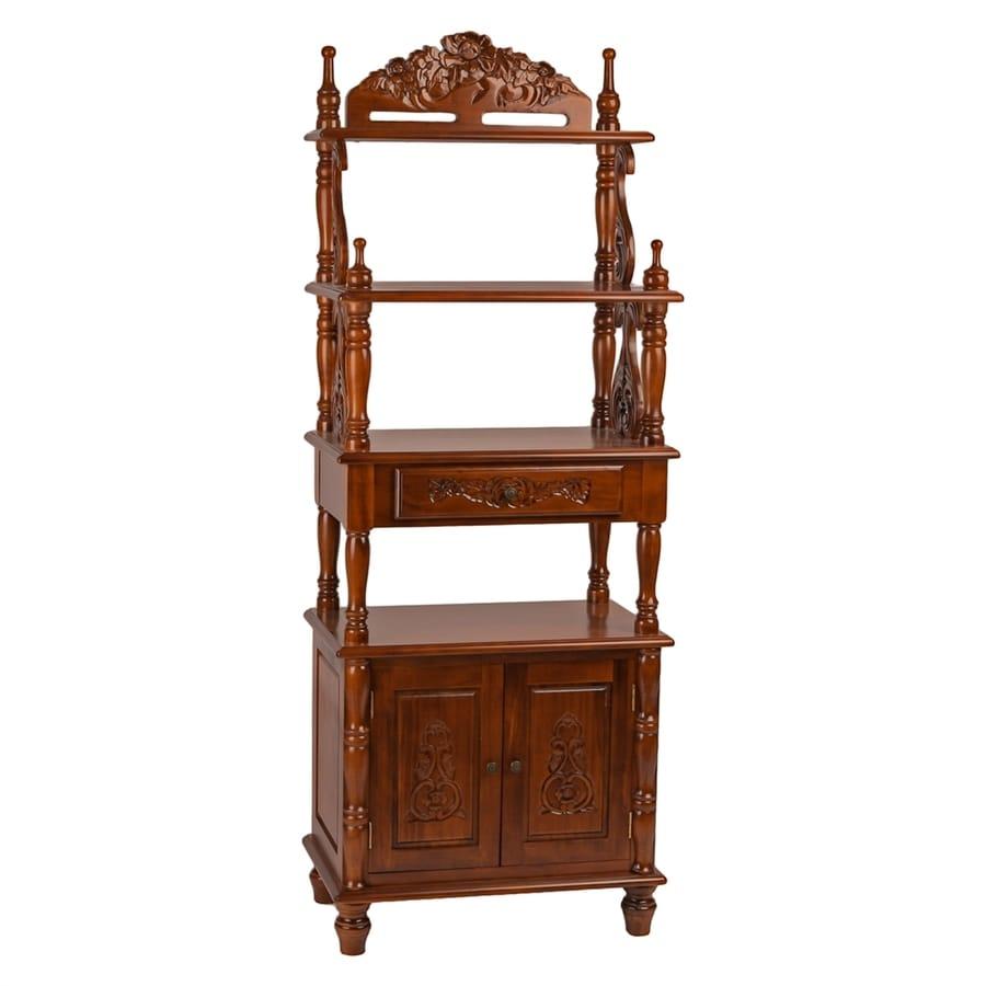 International Caravan Windsor Walnut Wood 4-Shelf Bookcase