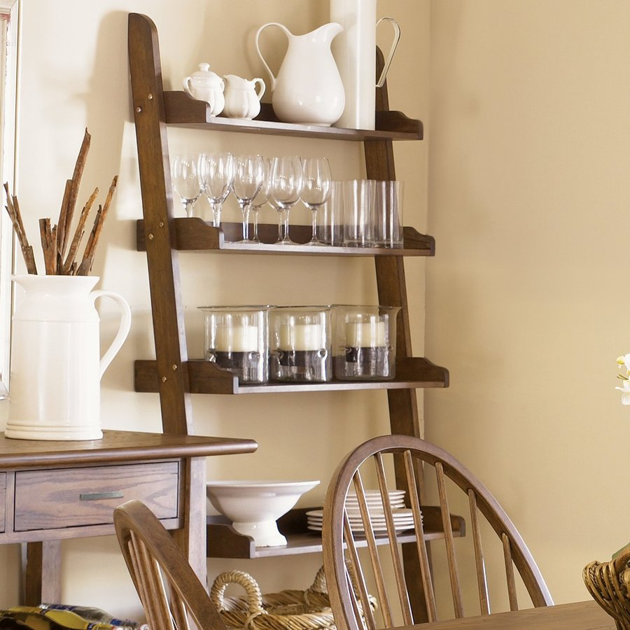Liberty Furniture Farmhouse Weathered Oak 5 Shelf Ladder Bookcase