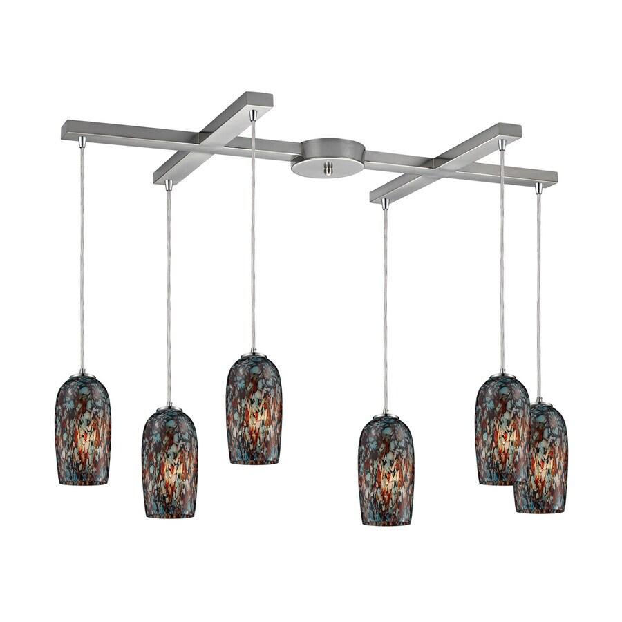 Westmore Lighting Sheliak 35-in Satin Nickel Linear Art Glass Cylinder Pendant