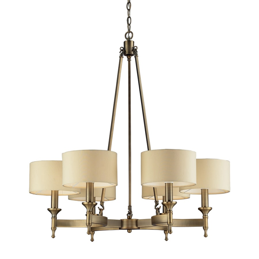 Westmore Lighting Canterbury 31-in 6-Light Antique Brass Shaded Chandelier