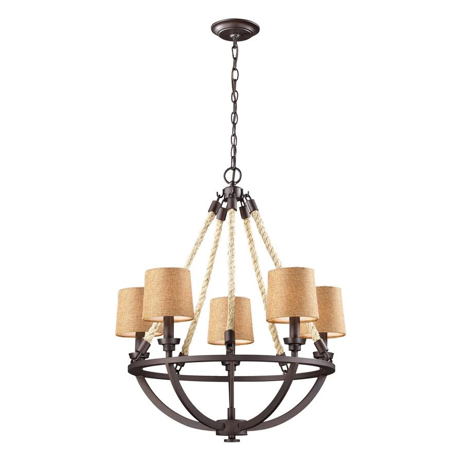 Westmore Lighting Litherland 22-in 5-Light Aged Bronze Shaded Chandelier
