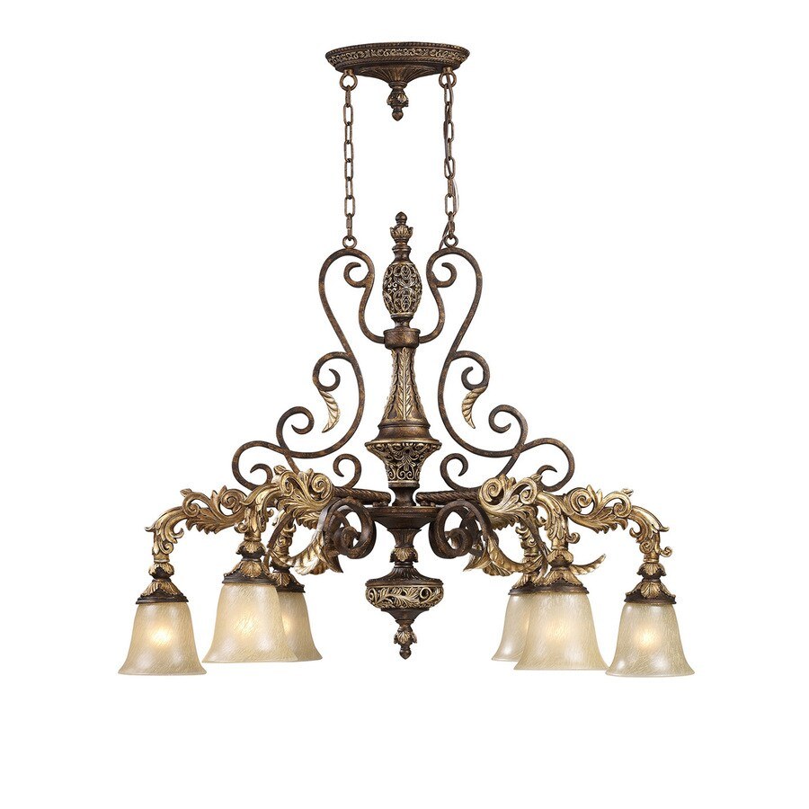 Westmore Lighting Hearst 22-in 6-Light Burnt Bronze Vintage Tinted Glass Shaded LED Chandelier
