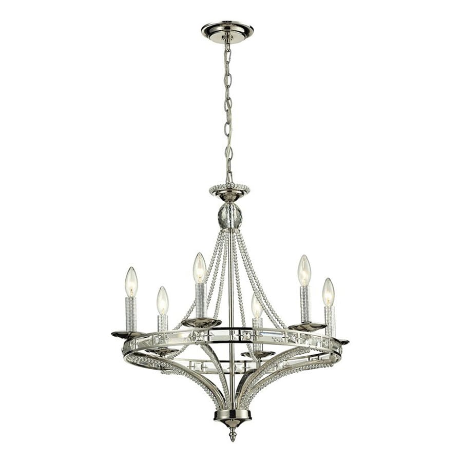 Westmore Lighting Minuet 23-in 6-Light Polished Nickel Candle Chandelier