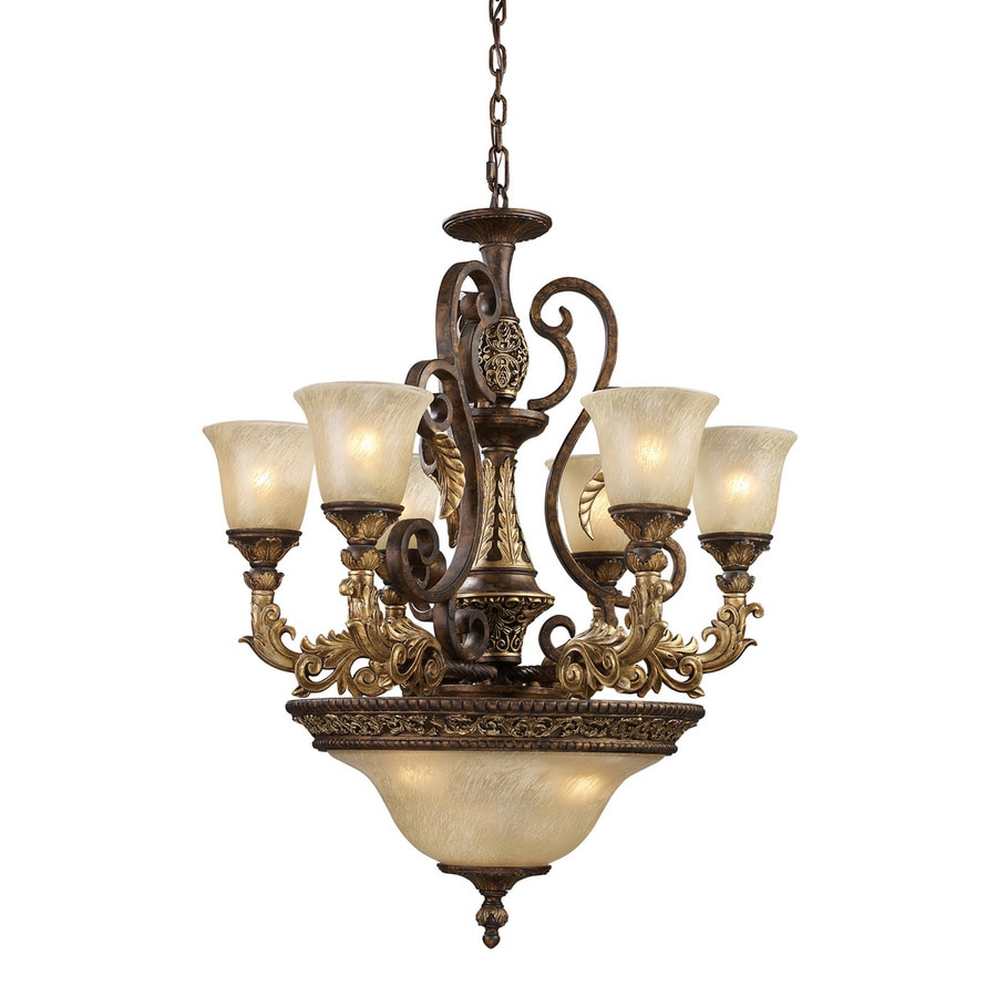 Westmore Lighting Hearst 28-in 9-Light Burnt Bronze Vintage Tinted Glass Shaded LED Chandelier