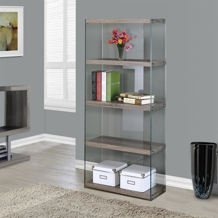 Monarch Specialties Dark Taupe Reclaimed Glass 4-Shelf Bookcase