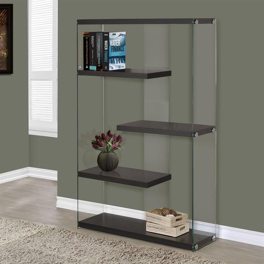 Monarch Specialties Cappuccino Glass 4-Shelf Bookcase