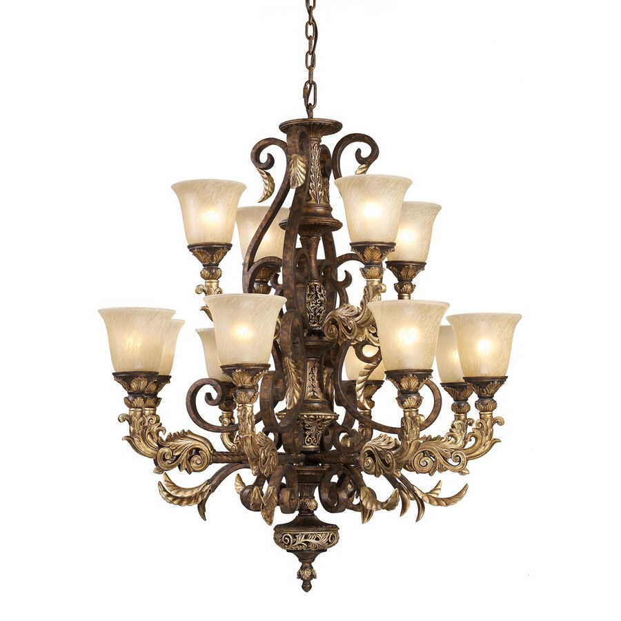 Westmore Lighting Hearst 35-in 12-Light Burnt Bronze Vintage Tinted Glass Tiered LED Chandelier