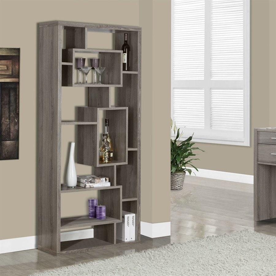 Monarch Specialties Dark Taupe Reclaimed 11-Shelf Bookcase