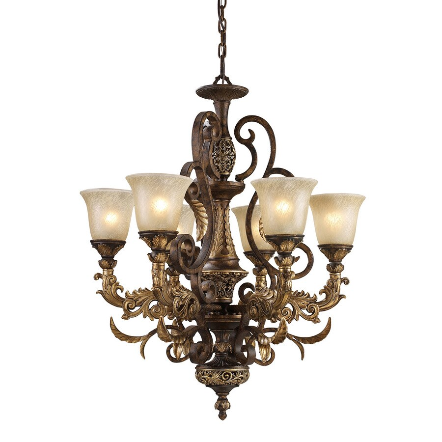 Westmore Lighting Hearst 28-in 6-Light Burnt Bronze Vintage Tinted Glass Shaded Chandelier