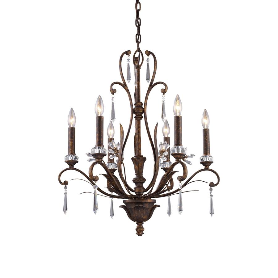 Westmore Lighting Ottawa 23-in 6-Light Burnt Bronze Vintage Candle Chandelier