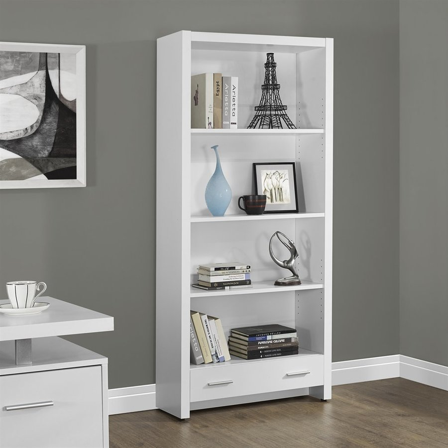 Monarch Specialties White Composite 4-Shelf Bookcase