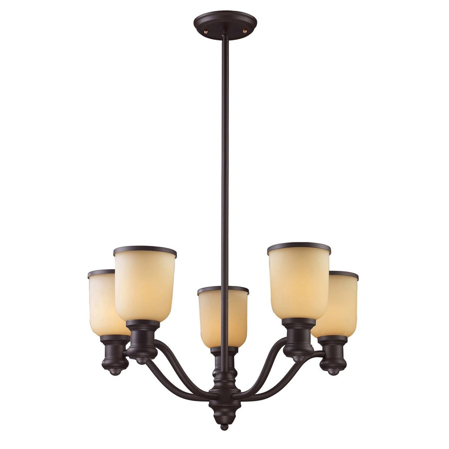 Westmore Lighting Crocker 25-in 5-Light Oiled Bronze Tinted Glass Shaded LED Chandelier