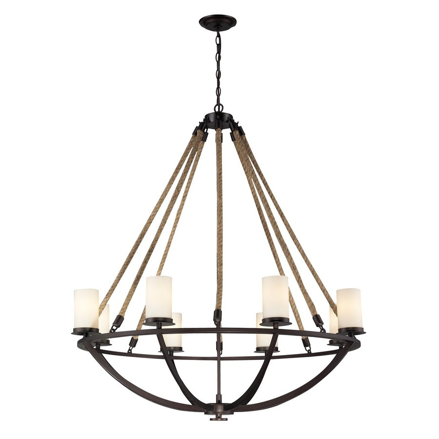 Westmore Lighting Litherland 41-in 8-Light Aged Bronze Tinted Glass Candle Chandelier