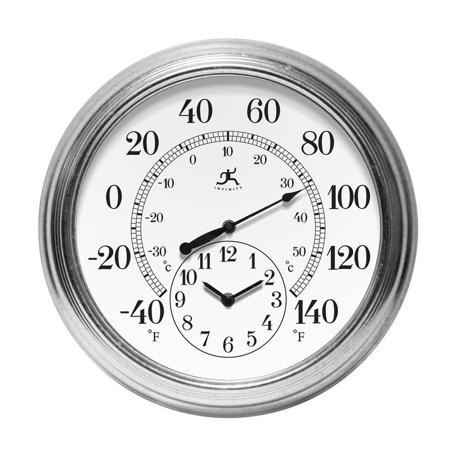 Infinity Instruments Prague Analog Round Indoor/Outdoor Wall Combination Clock
