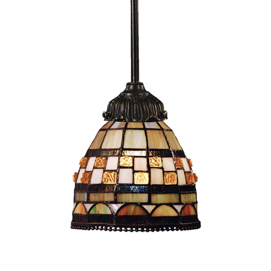 Westmore Lighting Sargon 6-in Bronze Tiffany-style Mini Stained Glass Bell LED Pendant